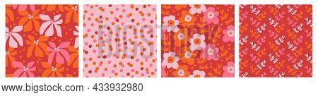 Contemporary Floral Seamless Pattern Set, Vintage Colors. Modern Botanical Design For Fabrics, Tile