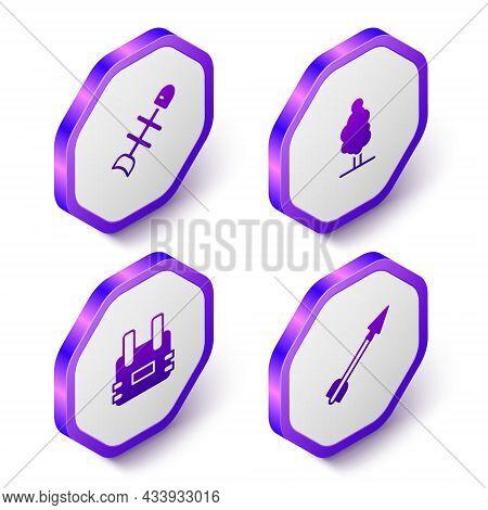 Set Isometric Dead Fish, Tree, Bulletproof Vest And Medieval Arrow Icon. Purple Hexagon Button. Vect