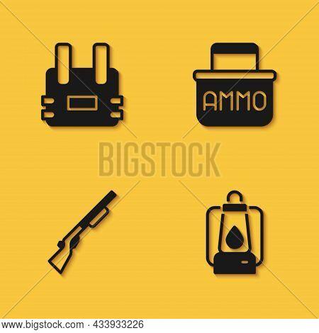 Set Bulletproof Vest, Camping Lantern, Hunting Gun And Ammunition Box Icon With Long Shadow. Vector