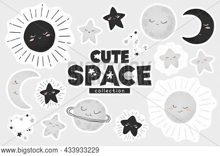 Vector Illustration With Cute Hand Drawn Cartoon Space Stickers Collection Sun, Moon, Planets And St