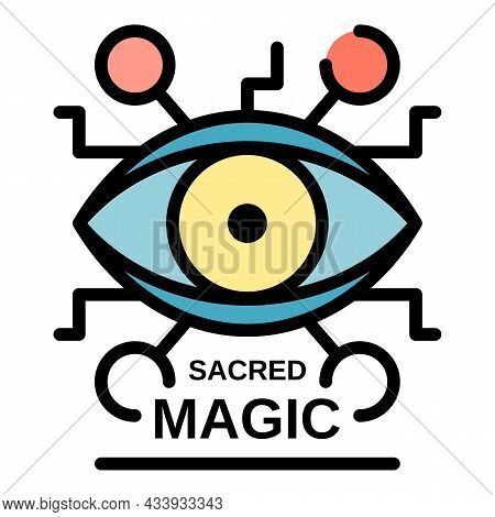 Sacred Magic Eye Icon. Outline Sacred Magic Eye Vector Icon Color Flat Isolated