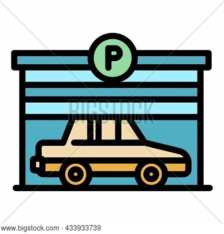 Parking Garage Icon. Outline Parking Garage Vector Icon Color Flat Isolated