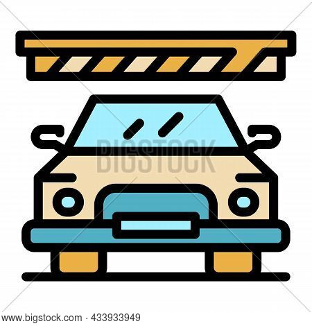 Mall Car Parking Icon. Outline Mall Car Parking Vector Icon Color Flat Isolated
