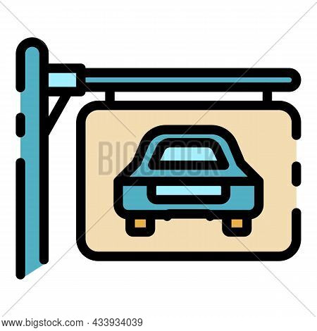 Car Parking Board Icon. Outline Car Parking Board Vector Icon Color Flat Isolated