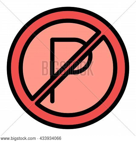 Parking Restriction Icon. Outline Parking Restriction Vector Icon Color Flat Isolated