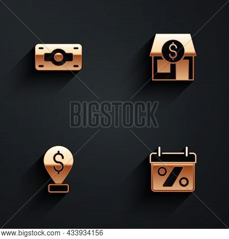 Set Stacks Paper Money Cash, Market Store, Cash Location Pin And Discount Percent Tag Icon With Long