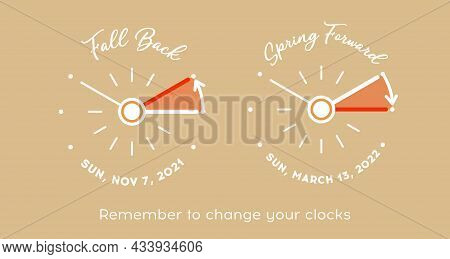Daylight Saving Time For Usa And Canada. Vector Set Of Minimalist Retro Clocks Fall Back Time And Sp