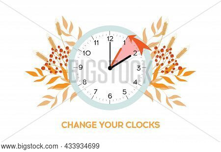 Daylight Saving Time Ends. Fall Back Change Clocks. Vector Illustration With A Clock Turning An Hour