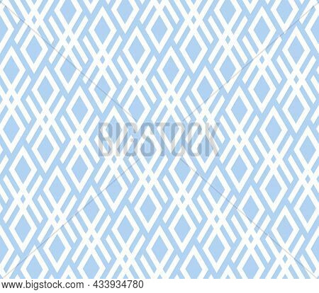 Abstract Geometric Pattern. A Seamless Background. White And Blue Ornament. Graphic Modern Pattern.
