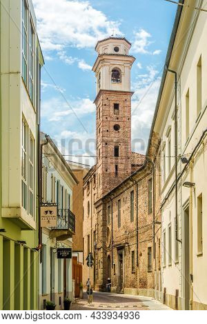 Alba, Italy - June 27,2021 - View At The City Tower In The Streets Of Alba. Alba Is A Town And Comun