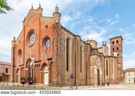 Asti, Italy - June 27,2021 - View At The Cathedral Of Assumption Of The Blessed Virgin Mary And Sain
