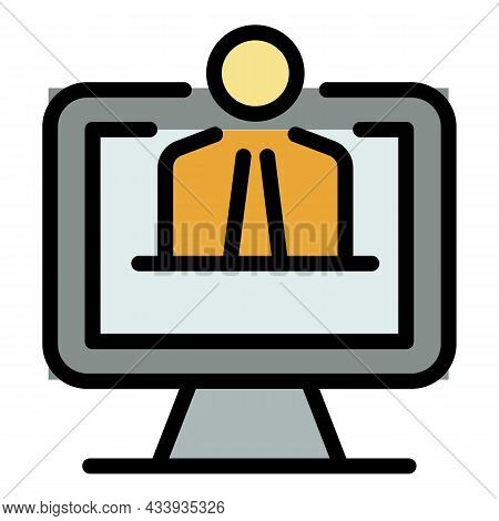 Web Online Live Icon. Outline Web Online Live Vector Icon Color Flat Isolated