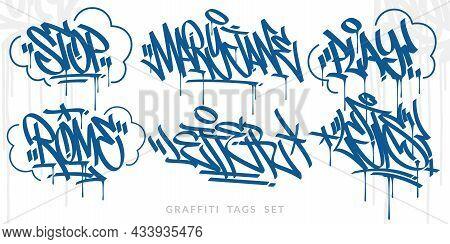 Abstract Blue Handwritten Hip Hop Urban Street Art Graffiti Style