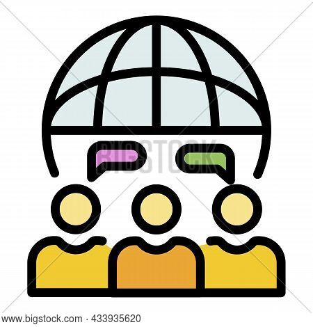 Global Teamwork Icon. Outline Global Teamwork Vector Icon Color Flat Isolated