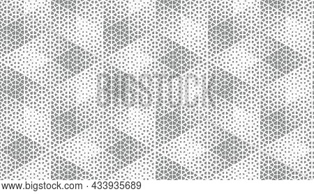 Abstract Geometric Pattern. Seamless Background. White And Grey Halftone. Graphic Modern Pattern. Si