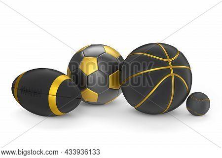 Set Of Black Ball Like Basketball, American Football And Golf Isolated On White
