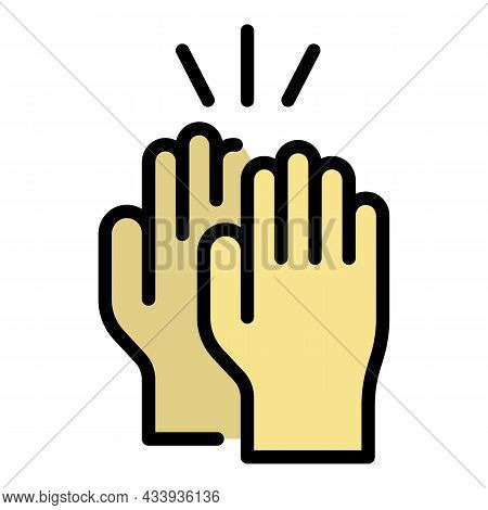 Hands Clap Icon. Outline Hands Clap Vector Icon Color Flat Isolated