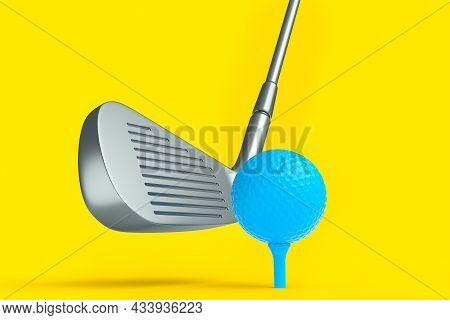 Sport Equipment Golf Club And Ball Isolated On Yellow Background.