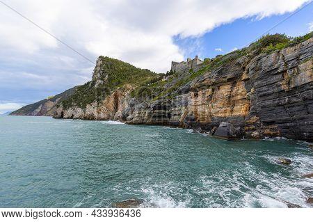 View On Byron Grotto In The Bay Of Poets, Ruiuns Of Doriow Castle, Portovenere, Italian Riviera, Ita