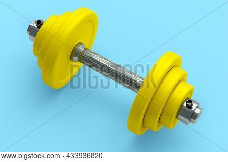 Metal Dumbbell With Yellow Disks Isolated On Blue Background