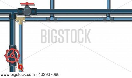 Water Fittings. Pipeline For Various Purposes. Frame With A Place For The Text About The Service. Ho