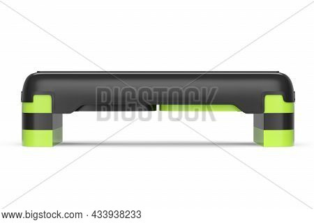 Stepper For Fitness And Green Step Platform For Aerobics Isolated On White