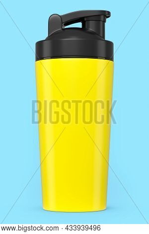 Yellow Plastic Sport Shaker For Protein Drink Isolated On Blue Background.