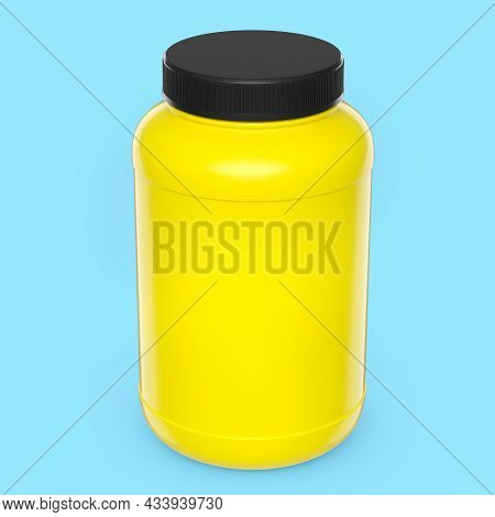 Yellow Plastic Jar For Sport Nutrition Whey Protein Powder Isolated On Blue