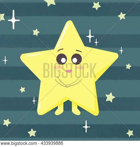 Cute Star And Cosmic Object Set In Grey Space Background. Adorable Cute Little Star Character For Ki