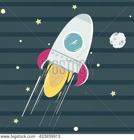 Cute Spaceship On Its Way To Moon In Space With Stars, Celestial Objects. Vector Illustration Isolat
