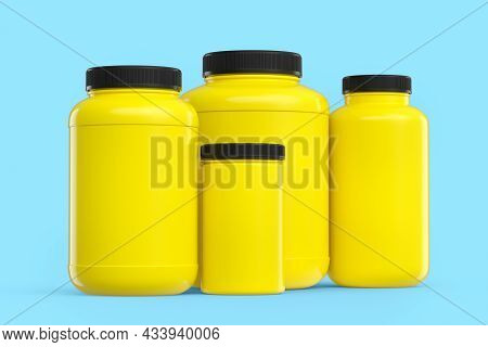Set Of Yellow Plastic Jar For Sport Nutrition Protein Powder Isolated On Blue
