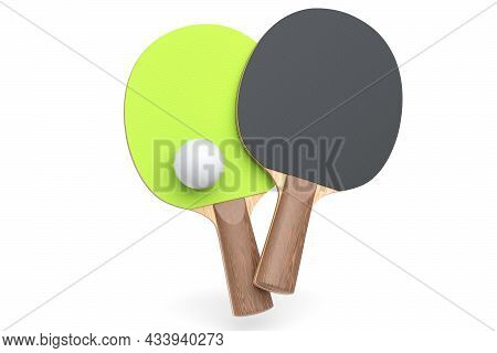 Pair Of Ping Pong Rackets For Table Tennis With Ball Isolated On White