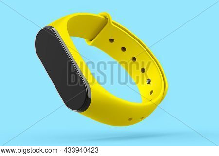 Yellow Fitness Tracker Or Smart Watch With Heart Rate Monitor Isolated On Blue