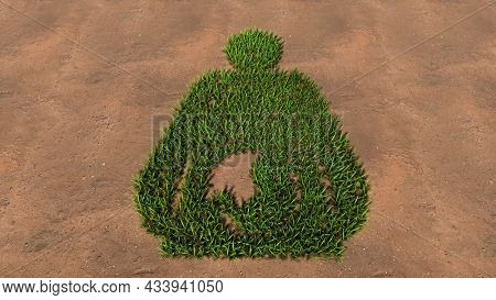 Concept conceptual green summer lawn grass symbol shape on brown soil or earth background, pregnant woman sign. 3d illustration metaphor for motherhood, maternity, awaiting, love, care, life and joy