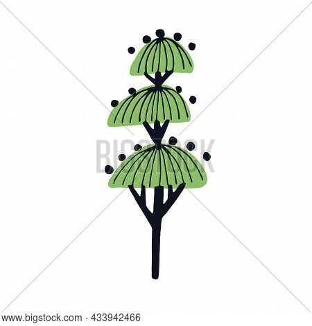 Abstract Tree Drawn In Simple Doodle Style. Primitive Childrens Drawing Of Woods Plant With Leaves,