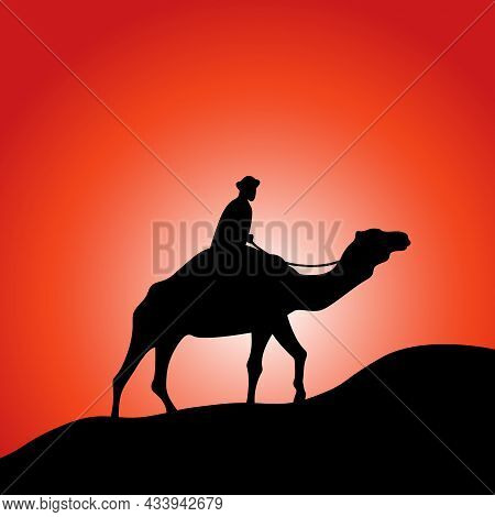 Camel And Rider In Desert Black Silhouette Vector Illustration. Red Sunrise Or Sunset Background.