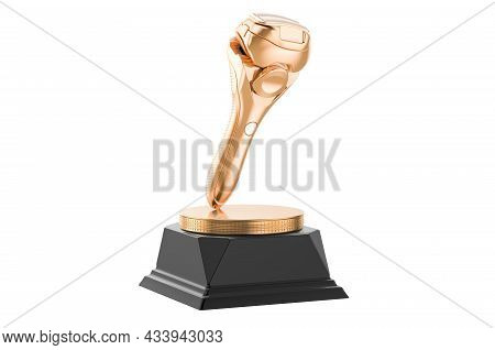 Electric Shaver Golden Award Concept. 3d Rendering Isolated On White Background
