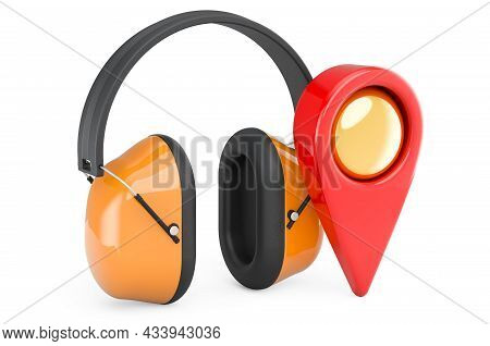 Ear Defenders With Map Pointer. 3d Rendering Isolated On White Background