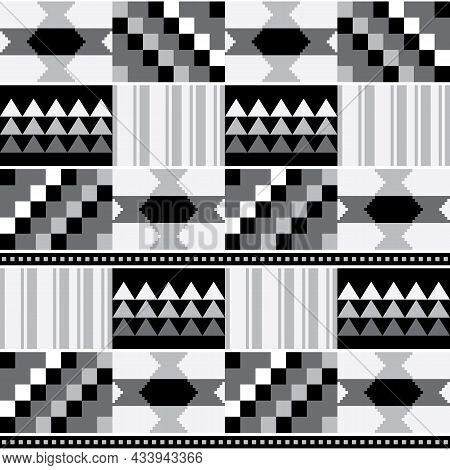 African Tribal Kente Mud Cloth Style Vector Seamless Textile Pattern, Traditional Geometric Nwentoma