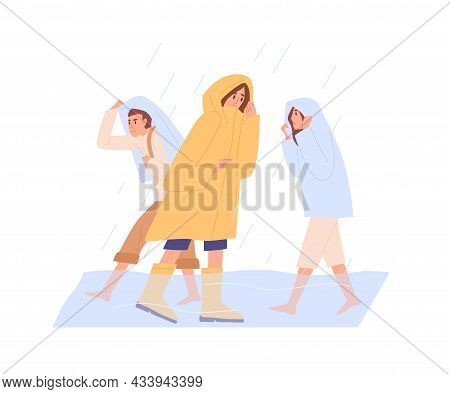People In Heavy Rain With Flood, Walking In Puddle. Extreme Bad Rainy Weather. Men And Women In Rain