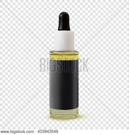 Oil Facial Serum Cosmetic Bottle Realistic Illustration Isolated. 3d Vector Beauty Product Mock Up