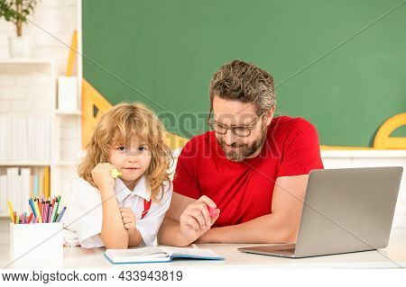 Family Blog. Childhood And Parenthood. Small Boy Study With Private Teacher. Webinar Video Lesson