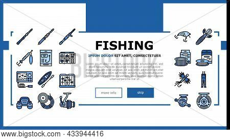 Fishing Shop Products Landing Web Page Header Banner Template Vector. Bait Cast Reel With Monofilame