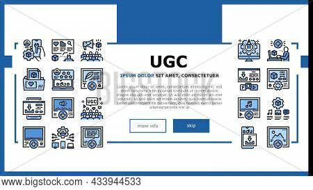 User Generated Content Landing Web Page Header Banner Template Vector. Video And Audio, Images And T