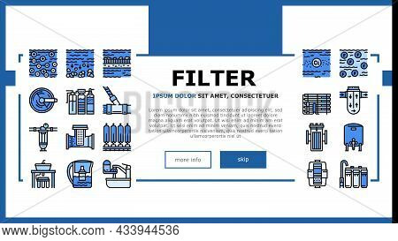 Water Filter Equipment Landing Web Page Header Banner Template Vector. Industrial And Home Water Fil