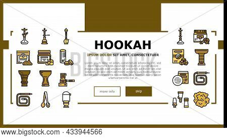 Hookah Tobacco Smoking Landing Web Page Header Banner Template Vector. Nicotine-free And Charcoal Fo
