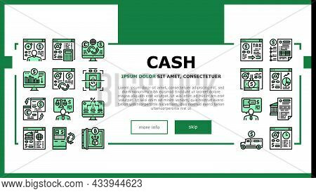 Cash Services Bank Landing Web Page Header Banner Template Vector. Opening Customer Account And Prov