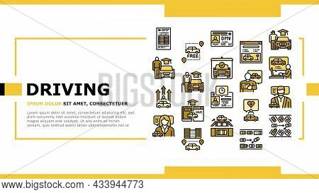 Driving School Lesson Landing Web Page Header Banner Template Vector. Driving School Educational Mat