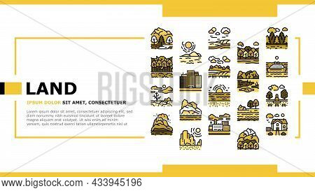 Land Scape Nature Landing Web Page Header Banner Template Vector. Desert And Forest, Meadow And Indu