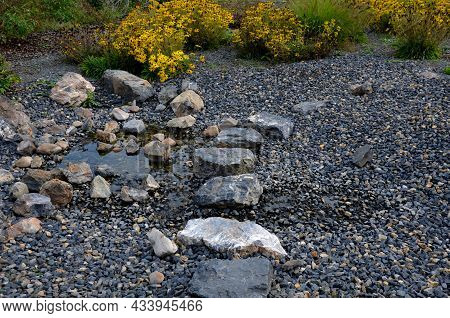 Artificial Water Cascade Stone Profile Of The Stream As A Summer Playground In The Park. Through The